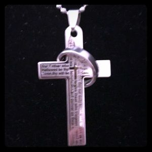 NWOT The Lord's Prayer STAINLESS STEEL CROSS